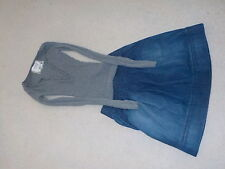 Meli Melo denim knee length skirt sz 25 & Abercrombie& Fitch gray sweater sz xs
