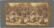 Scène de genre à la campagne Photo Fraget & Viret Stereo Vintage albumine c1865