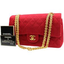 Chanel Imbottito Matelasse Catena Borsa a Spalla Cotone Rosso Vintage Francia