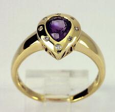 Diamond amethyst ring 14K yellow gold pear round brilliant 1.20CT sz9.5 Etruscan