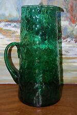 Grand Pichet en verre soufflé pour eau ou orangeade.(27cm., vert)