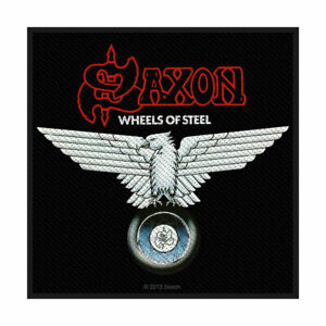 """SAXON - """"WHEELS OF STEEL"""" - WOVEN SEW ON PATCH - OFFICIAL - U.K. BASED SELLER"""