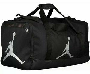 Nike Jordan Duffel 8A1913 Gym Bag BLACK SILVER Shoe Pocket Water Resist NWT