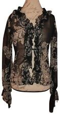 NECESSARY OBJECTS Black White Floral Print Sheer Ruffled Bell Sleeves Blouse S