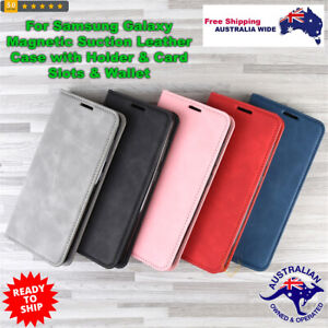 Business Magnetic Suction Leather Case with Holder & Card Slots & Wallet Samsung