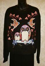 TOPSHOP Black W/Crochet & Fabric Owls Acrylic Long Sleeve Sweater Sz 10 #2924