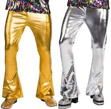 Mens Gold Silver 1970s Disco Flares Pants Trousers Fancy Dress Costume Outfit