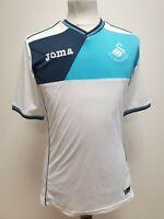 S682 MENS JOMA SWANSEA CITY AFC WHITE BLUE V-NECK STRETCH FOOTBALL SHIRT UK S