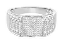 10K SOLID WHITE GOLD .54 CARAT REAL DIAMOND ENGAGEMENT RING WEDDING PINKY BAND