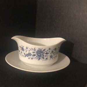 Vintage Ceramic/ Porcelain Gravy Bowl Blue Brocade Elite Creation Great Japan
