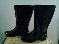 Womens Treaded  Sole Tall Rubber Gloss Knee High Farm Snow Rain Boots Size 9