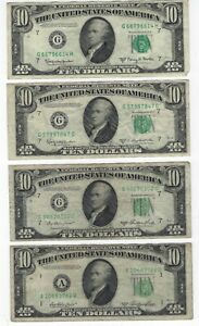 1950 Series A, D, E  - UNITED STATES $10 DOLLAR BILLS - CIRCULATED - LOT OF 6