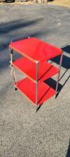 Antique Vintage Red Three tier Rolling Cart Kitchen Shelf storage Plug in cord