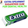 Wrigley's Extra Chewing Gum Spearmint Favour Wrapped Sugar Free Bubble gum