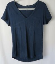 Gap Womens V Neck Vintage Wash Pocket T Shirt Short Sleeve Navy Medium #7490