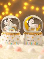 Cute Unicorn Rainbow 4 Color LED Muscial Snow Globe Twinkle Twinkle Little Star