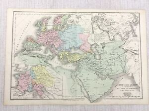 1877 Antique Map of The Arabian Empire Mongolian Arabs Emperor Charlemagne
