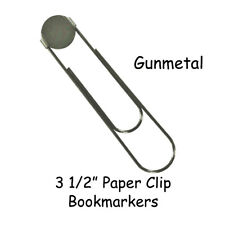 10 GUNMETAL Jumbo / Large Paper Clip Bookmarkers with 16mm Pad - 3 1/2 Inch