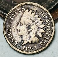 1864 Indian Head Cent Penny CN 1C DIE CRACKS Good Civil War Date US Coin CC5828