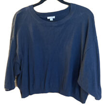 Gap Ladies Navy Cropped Knitted Top Short Sleeved Size Medium