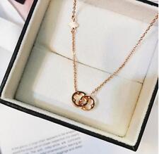 Double Rings Flower 4-leaf Clover Titanium Steel Rose Gold Pendant Necklace