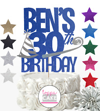 CUSTOM Glitter Cake Topper Personalised 16th,18th,21st,40th,50,60,30th Birthday