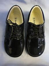 Childrens Boys Black Formal Shoes Laces Infant Junior Smart Wedding High Quality