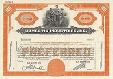 SPECIMEN Stock Certificate - Domestic Industries Inc -  Columbian Bank Note Co.