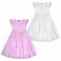 Girls Summer Dress Kids Floral Embroidery Dresses Age 3 4 5 6 7 8 9 10 11 Years