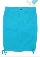Caribbean Joe Bermuda Shorts Capris Womens 8 Blue Tie Hem Cotton NWT