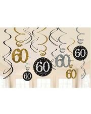 60th SPARKLING BLACK BIRTHDAY SWIRLS HANGING PARTY DECORATIONS 60 SIXTY PKT 12