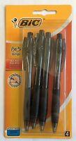 Bic Bu3 Grip Black Ink Biro Pens Retractable Medium Comfort Ballpoint x 4