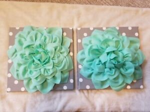 Mint Green & Gray Nursery Wall Art - Polka Dot and Flowers (Very Good Condition)