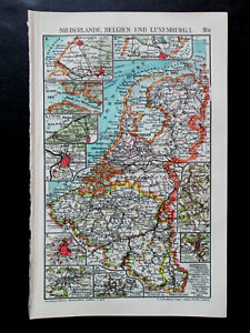 Antique map. NETHERLANDS. BELGIUM. LUXEMBOURG. I & II. Circa 1911