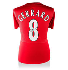 Stevan Gerrard Liverpool Legend Autografado/Assinado 2005 Jersey ícones Autêntico