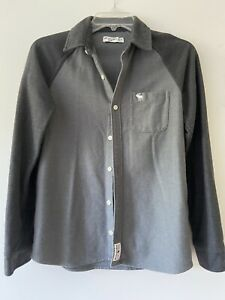 Boys Abercrombie & Fitch Knit Raglan Long Sleeve Button Up Grey Shirt sz 13/14