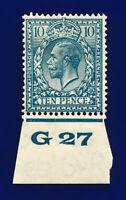 1924 SG428 10d Turquoise-Blue N44(1) Control G27 Perf 2(E) MMH Cat £75 chgf