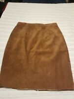 Eddie Bauer Seattle Suede Skirt womens size 10 Brown Suede Leather Full Lined