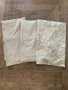 Set Of 3 Nancy Koltes Fine Linens Pillow Cases Floral & Stripe Std & King EUC