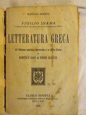 LETTERATURA GRECA Vigilio Inama Domenico Bassi Emidio Martini Hoepli 1920 da per