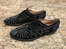 Robert Clergerie Black Suede Crystal Lace Up Oxfords Shoes