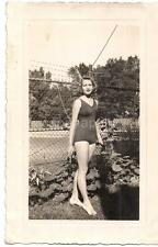 Statuesque Sexy Gorgeous Swimsuit Girl High Heels Shoes Pin-up Pose 1940s Photo