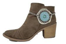 Women Silver Metal Chain Boot Bracelet Heel Shoe Blue Turquoise Faux Snake Charm