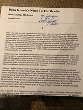 """Dean Koontz """"Notes to the Reader"""" & Personal Newsletter 1997, both Signed"""