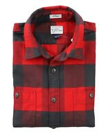 J.Crew Mens S Classic Fit - NWT$79 Red/Charcoal Gray Buffalo Check Flannel Shirt