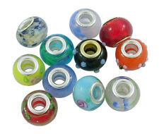 200 Stk. Mix Handgemachte Glasperlen Murano Glas Großloch Perlen Rondell 14x10mm