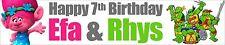 TROLLS NINJA TURTLE PERSONALISED BIRTHDAY BANNERS X 2