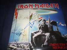 "IRON MAIDEN SIGNED RECORD ""2 MINUTES 2 MIDNIGHT "" NICKO+HARRIS RARE 45 VINTAGE!"