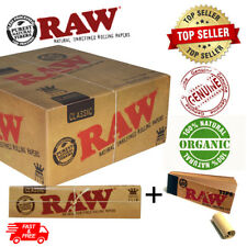 More details for raw classic rolling papers king size slim 110mm with roach filter tips rizla kit