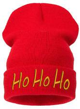 Adult Kids Ho Ho Ho Xmas Green Christmas Fancy Dress Xmas Party Santa Beanie Hat